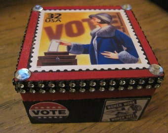 Women's Vote Stamp Small Hand Crafted Decoupaged Wooden Trinket Keepsake Box