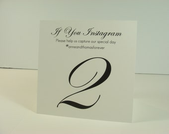 Wedding Table Number with your Personalized Instagram information or Personal Message to Your Guests Elegant Tent Design