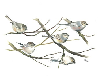 """Limited Edition GICLEE Print / """"The Acrobats"""" / Watercolor Painting of Bushtits"""