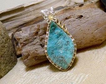 Wire Wrapped Natural Chrysocolla Gemstone Necklace Pendant