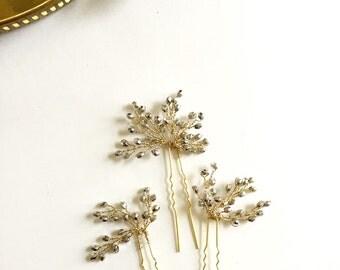 Anne Flower pins   Bridal hair Pins    Gold  & Silver Hair Pins    Party Hair pins   Sparkle Pins   Holiday Hair pins