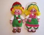 2 vintage handmade FELT ornaments