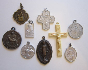 vintage religious medals and crucifix - 9 pieces - bronze Mater Decor Carmeli medal