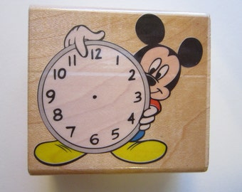 rubber stamp - It's Time for MICKEY - Mickey Mouse clock stamp - Rubber stampede - htf, rare