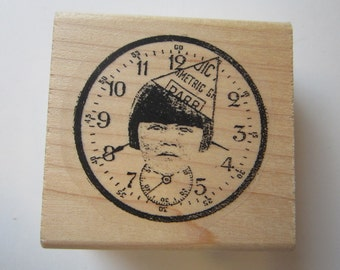 rubber stamp - CLOCK with FACE
