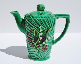 Vintage German Lily of the Valley Majolica Coffee or Teapot - Majolica, German Majolica, Teapots, Coffee Pots, Lily of the Valley