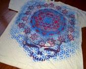 2XL White Lightning Bolt Sri Yantra Steal Your Face Metatron's Cube Hand Painted Mandala Chakra Tee shirt