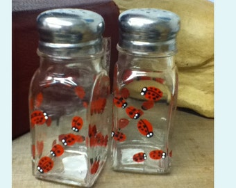 Ladybug Glass Salt and Pepper Shakers Hand-painted Lady Bug Insect Salt & Pepper Shakers by Lisa Hayward