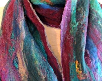 Felted scarf, Nuno Felted scarf, Striped scarf, Woman's scarf, Silk Scarf