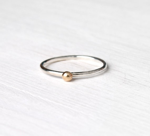 Gold dot ring / Stackable silver ring with solid yellow gold dot / mixed metals ring / minimalist design handmade under 35