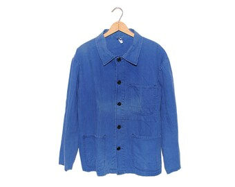 Vintage European Blue Herringbone Cotton Button Up Three Pocket Chore Coat - Medium