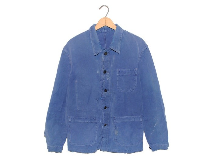 Vintage European Blue Cotton Button Up Distressed / Weathered Chore Coat - Medium (OS-EWJ-2)