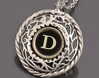 Typewriter Key Necklace Initial D Necklace Letter D Necklace