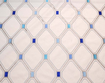 Waverly Fabric Shindig Embroidery Delft Blue Grey Trellis