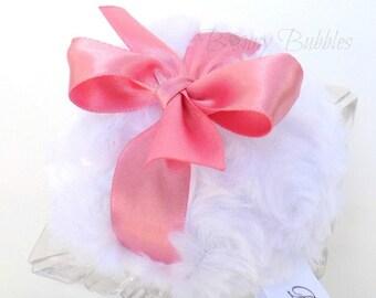 Antique Pink Powder Puff - dusty rose and white powderpuff -  soft bath pouf - gift box option - by BonnyBubbles