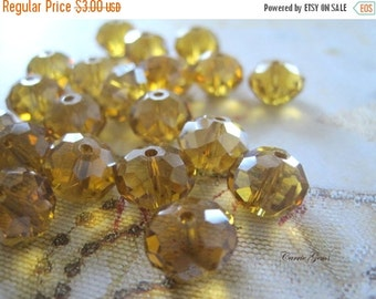 20% OFF ON SALE Brown Yellow Chinese Crystal Faceted Rondelle 10mm, 30  pieces