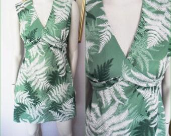 Vintage 70s Green Fern Print Sleeveless Mini Dress by Sears.M.Bust 38.Waist 32.