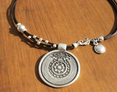 women leather necklace, genuine leather and silver, tribal ethnic, leather jewelry trend