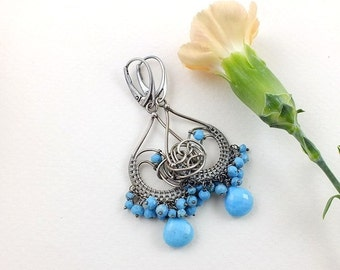 Wire wrapped silver earring , blue turquoise earring, dangle earring, sterling silver jewely, luxury earring