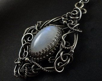 Luxury retro necklace, wire wrapped jewelry, sterling silver jewelry, rainbow moonstone pendant