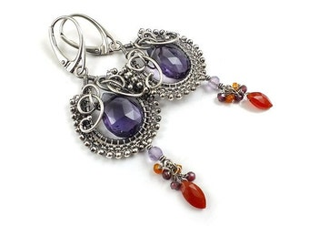 Wire wrapped earring, purple amethyst earring, long gemstone earring, sterling silver jewely