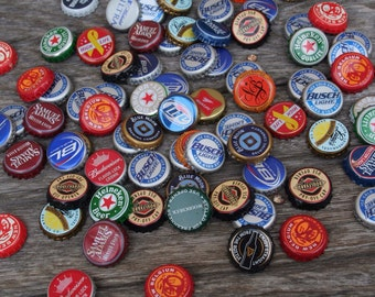 25 mixed beer bottle caps -- lot of beer caps