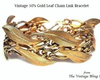 50s Gold Leaf Bracelet with 2 Rows of Textured Leaves on Figaro Chain Link - Vintage 50's Metal Bracelets Costume Jewelry