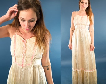JANE 70s Gorgeous Delicate Silky Cream Lace Bib Pink Ribbon Prairie Bohemian  Maxi Ruffle Wedding Bride Handmade Gown Dress Small S