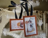 Halloween gift tags ornaments glittered Victorian Halloween party favor tags vintage card scrap tags paper ornaments cute children pumpkins