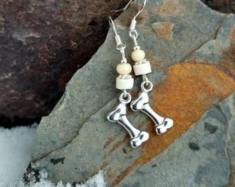 Dog Bone Earrings, Dog Bone Sterling Silver Earrings, Cream Dog Bone Sterling Earrings, Dog Bone Earrings, Silver Dog Bone Earrings
