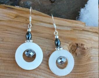 Cream Shell Earrings, Shell Hoop Sterling Silver Earrings, Cream Circle Shell Dark Gray Sterling Silver Earrings, Dark Gray Shell Earrings