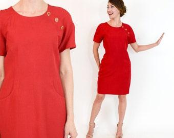 90s Red Linen Dress | Short Sleeve Day Dress, Medium