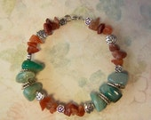 Red Agate and Green Agate Memory Wire Bracelet, Red Agate, Green Agate, Memory Wire, Natural Stone, Semi-precious Gem Stones