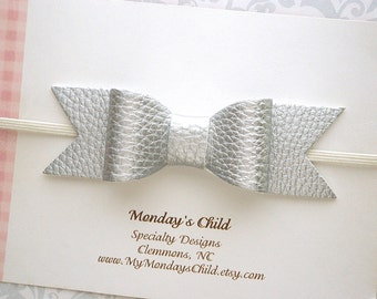 Faux Leather Bow, Silver Baby Bow Headband, Silver Baby Headband, Silver Bow, Leather Bow Headband, Baby Bows, Baby Headband, Toddler Bow