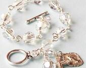 Sterling Silver Clear Rosary Bracelet, Swarovski Crystal, Miraculous Medal, Unbreakable, Catholic