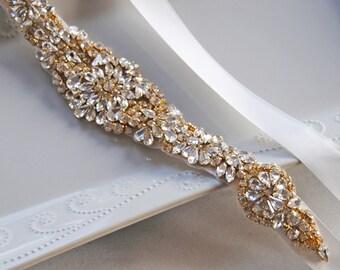 "Gold Crystal Skinny Sash, Silver & Rose Gold Bridal Sash, Off White, Ivory, Champagne Wedding Belt, 13"" of Rhinestones - ATHENA"