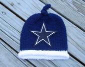 DALLAS COWBOYS Baby Hat, Knit Baby Hat, Cowboys Hat, Dallas Baby Hat, Hand Knitted Baby Hat, Baby Hat, Football Hat, Knitted Baby Hat