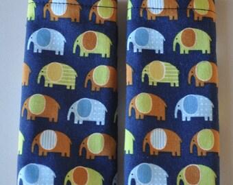 Navy Blue Elephant Minky Reversible Car Seat Stroller Strap Covers