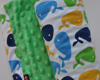 Boy Baby Blanket, Snuggle Size, Aqua Lime Green Navy Yellow Whales Lime Green Minky Blanket