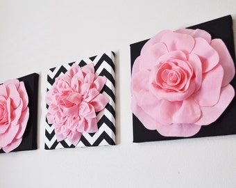 Baby Girl Nursery Flower Wall Art Girl Wall Decor Pink Nursery Decor Wall Hanging Felt Flower Choose your Own Colors