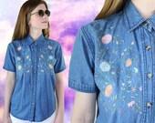 Vintage floral embroidered denim jean shirt 90's S
