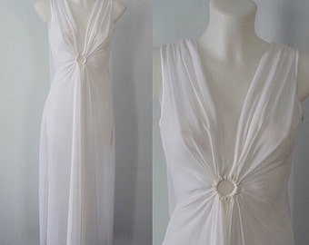 Vintage 1960s White Chiffon Nightgown, Vintage Chiffon Nightgown, Wedding, Bridal, White Chiffon Nighgtgown, Molyclaire, Vintage Nightgown