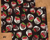 "Pick a Print-Set of 2 (8"" ) Chocolates-Strawberries-Zinnia-Quilted-Handmade-Insulated-Hot Pads-Pot Holders"