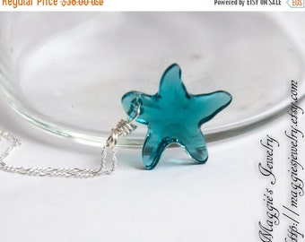 ON SALE London Blue Starfish Necklace, Swarovski Crystal, Dazzling Blue, Oxidized,  Teal, Crystal Starfish, Star Necklace, Ocean Breeze