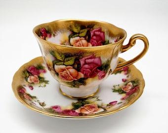 Antique Vintage Tea Cup Set, Golden Rose Pattern, Royal Chelsea Bone China, Bridal Shower Gift, Wedding Gift,Mother's Gift, Grandmother Gift