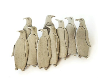 Penguin Jewelry Pewter JJ Jonette Vintage Brooch Large Pin