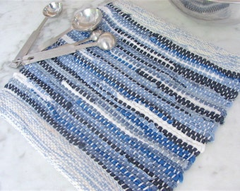Rustic French Country Kitchen Blue Woven Trivet, Farmhouse Home Decor Pot Holder, Coastal Beach Cottage Hot Pad, Mom Gourmet Chef Cook Gift