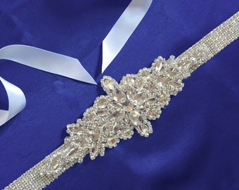 Crystal Bridal Sash Rhinestone Bridal Beaded Crystal Rhinestone Sash  Wedding Sash, Wedding Gown Accessory, Beaded Bridal Sash