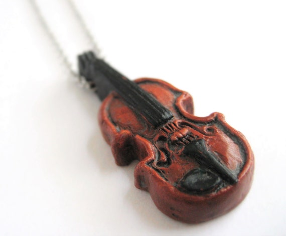 Music Necklace - Violin Necklace - Fiddle Jewelry - Miniature Tiny Violin Pendant - Music Pendant - Music Lover Gift For Her