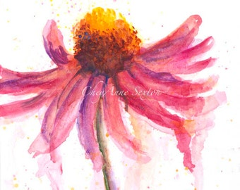 Fiesta pink  single Echinacea Blossom by CheyAnne Sexton - watercolor 6x10 ORIGINAL  bright bold pink purple fun fancy